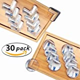 Janteen Furniture Corner Guards,Corner Protector,Edge Safety Bumpers,Baby Safety Proofing Corner Guards with Adhesive,L-Shaped & Ball-Shaped,30 Pack