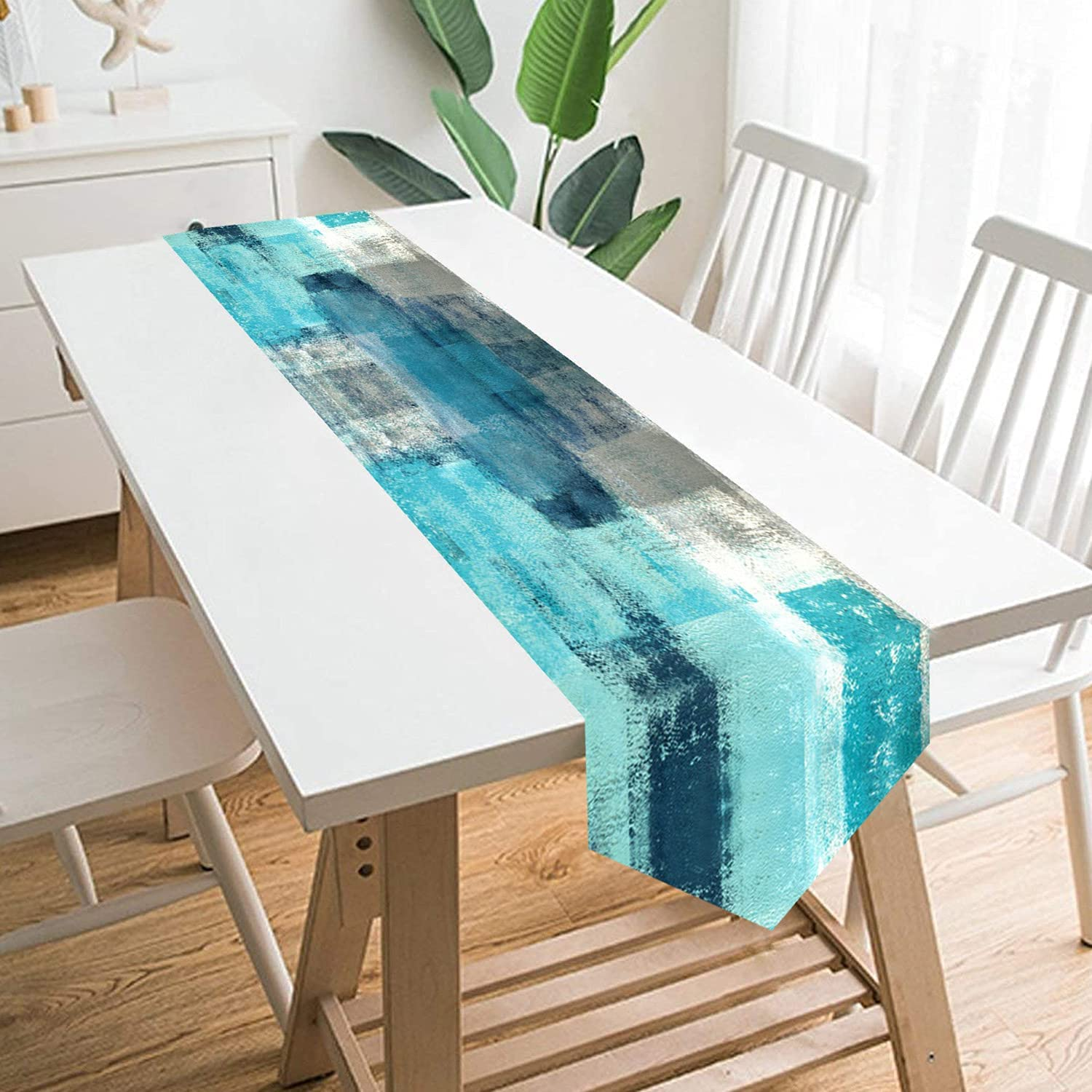BrilliStar Teal Modern Art Table Runner Farmhouse Style Burlap Table Runner Turquoise and Grey Abstract Art Painting Table Runners for Farmhouse Kitchen, Dinner Holiday Parties Decor 13 X 70 Inch