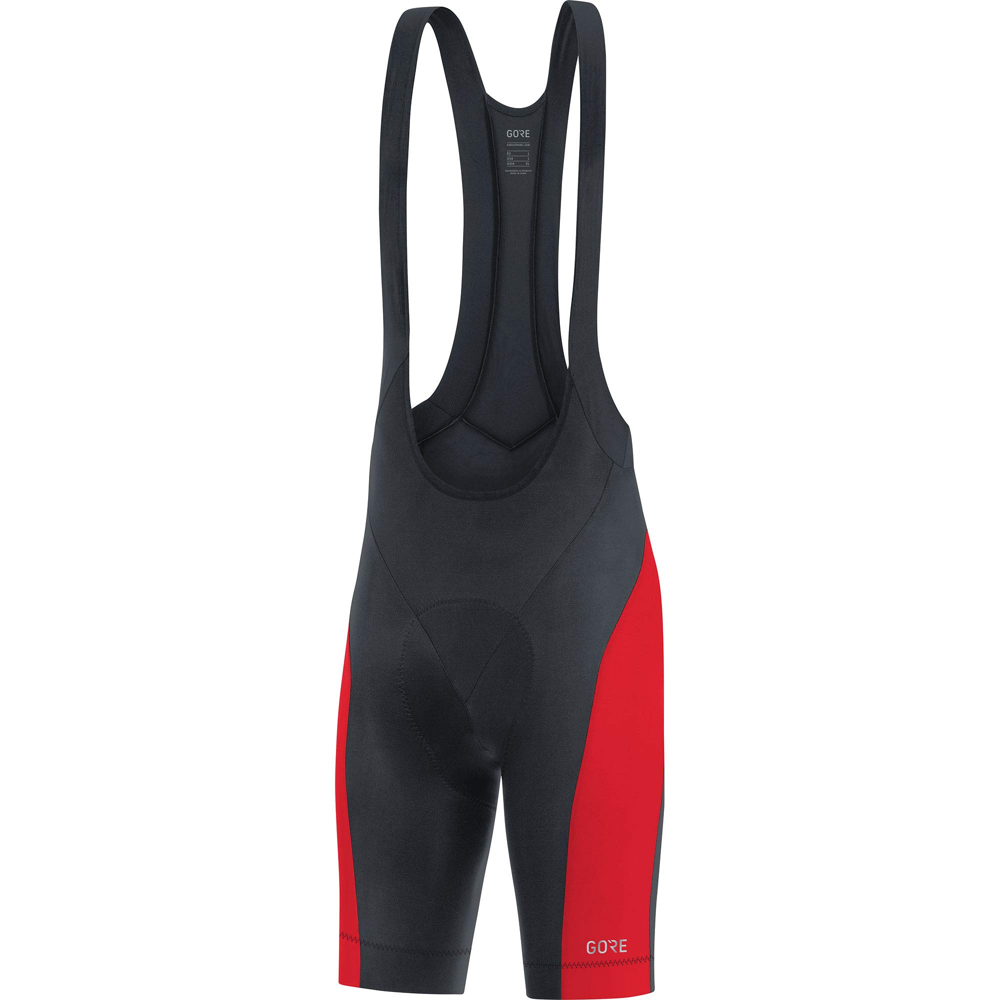 GORE WEAR C3 Men's Cycling Bib Shorts with Seat Insert, Size: S, Color: Black/Rot