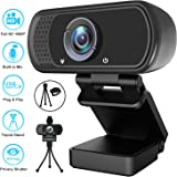 Webcam, HD Webcam 1080P with Privacy Shutter and Tripod Stand, Pro Streaming Web Camera with Microphone, Widescreen USB Compu