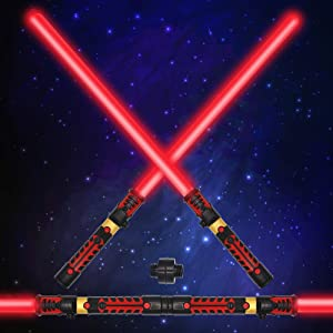 JOYIN Light Up Saber 2-in-1 LED FX Dual Red Light Swords Set with Sound (Motion Sensitive) and Realistic Handle for Halloween Costume Accessories, Xmas Presents, Galaxy War Fighters and Warriors