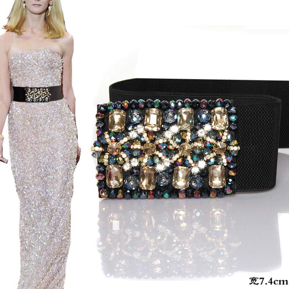 Crystal Elastic Waist Seal Fashion Widening Diamond Belt
