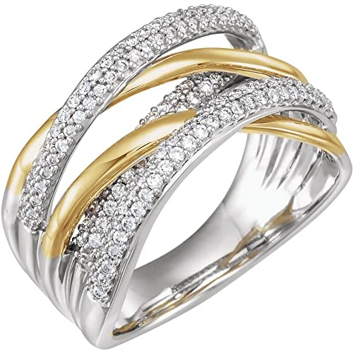 JewelryWeb Anillo Cruzado de Oro Blanco y Oro Amarillo Pulido 0,5 DWT Diamante de