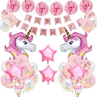 SPECOOL Unicornio Decoración de cumpleaños para niña, Rosa