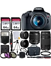 $529 Get Canon EOS Rebel T7 DSLR Camera + EF-S 18-55mm f/3.5-5.6 is II + EF 75-300mm f/4-5.6 III Lens + Canon EOS Shoulder Bag + 2X 64GB Memory Card + 58mm Wide Angle & Telephoto Lens + Slave Flash + Tripod