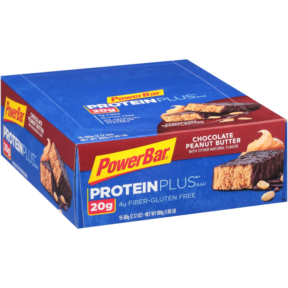 PowerBar Protein Plus Bar, Chocolate Peanut Butter, 2.12 oz Bar, (15 Count)