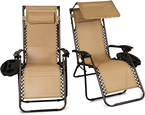 BELLEZE Set of 2 Outdoor Patio Zero Gravity Chairs Lounge Seat Recliner Yard Backyard Garden Beach Cup Holder Device Tray