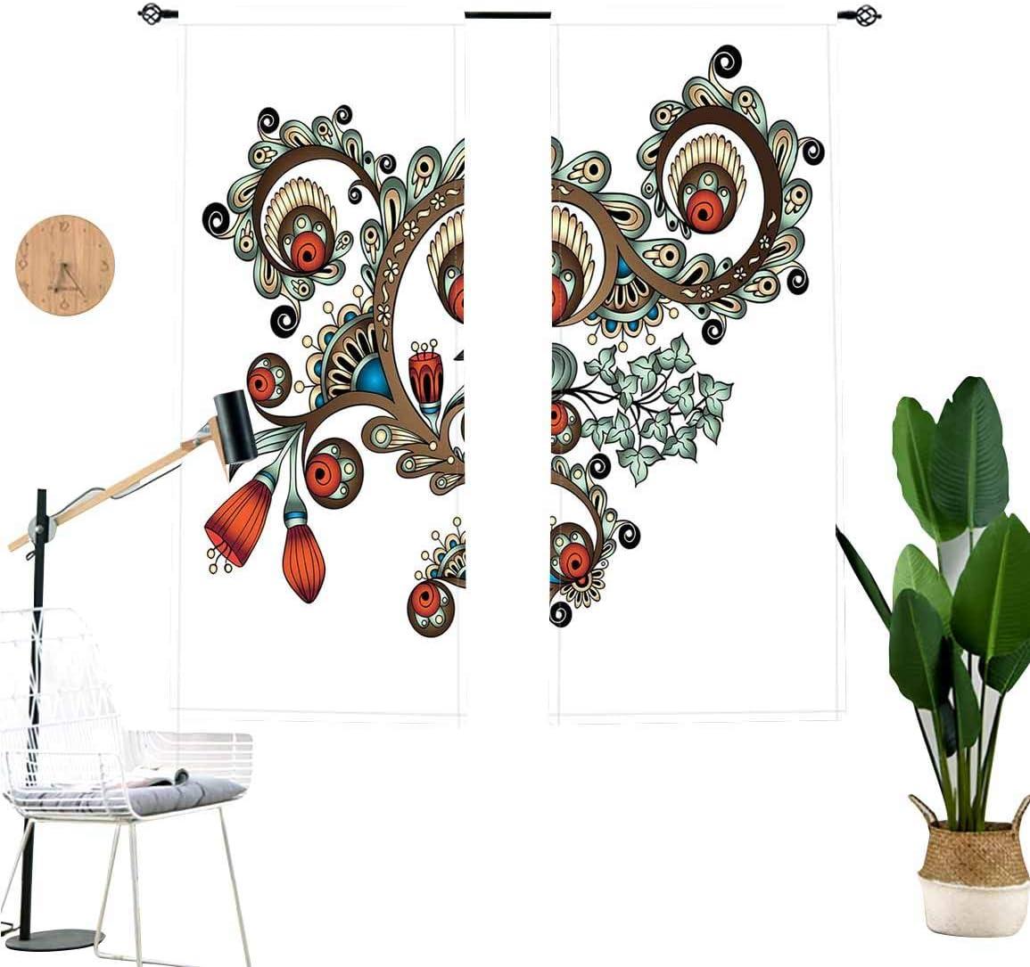 Henna Blackout Curtains,Doodle Style Floral Color Palette Asian Culture Window Drapes 2 Panel Set for Kitchen Cafe Decor,W29 x L36 Each Panel