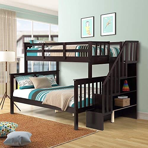 Rhomtree Wood Bed Twin Over Full Bunk Bed Stairway Loft Bed