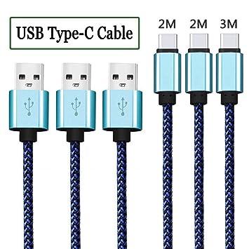 Cable USB C [3-Pack 2M 2M 3M ] Cable USB Tipo C Cargador Tipo C Trenzado de nylon Cable Type C para Samsung Galaxy S8 / S8 Plus / A3/A5(2017) / A7 / ...
