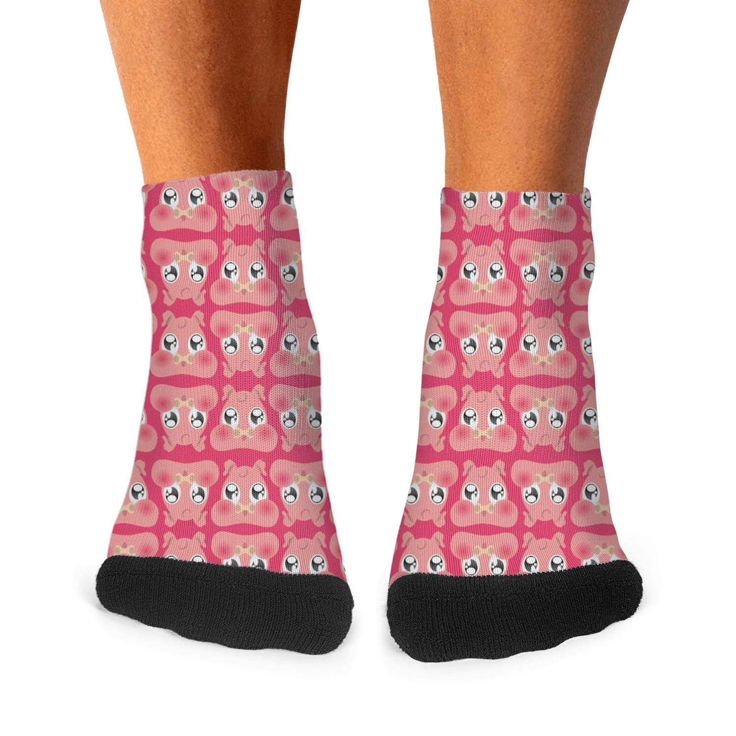 Mens athletic low cut Ankle sock Pink Pig Fat Portrait Short Outdoor Sock