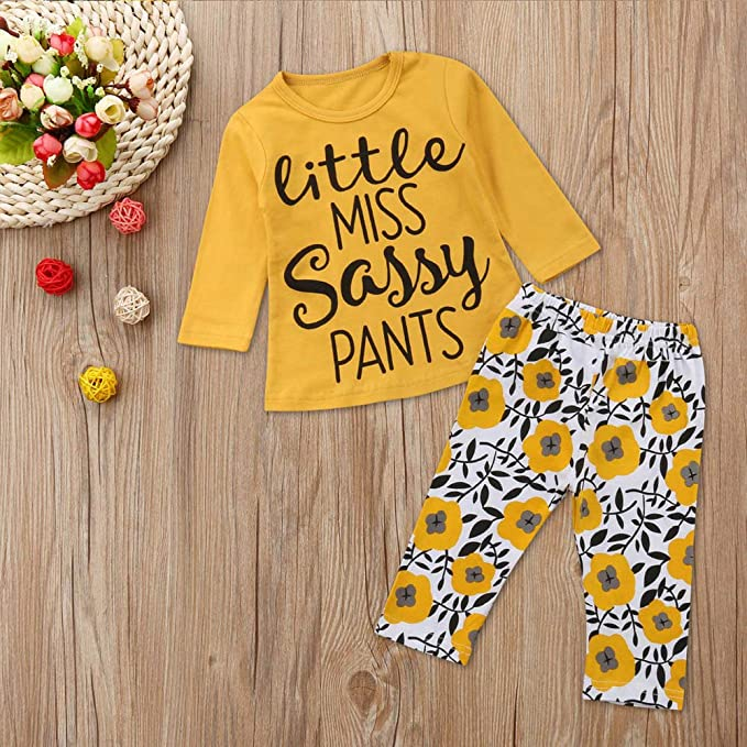 Lucoo Winter Outfits Set,2PCS Children Kids Long Sleeves Floral Print Hooded Top Clothes+Pants Set Outfit