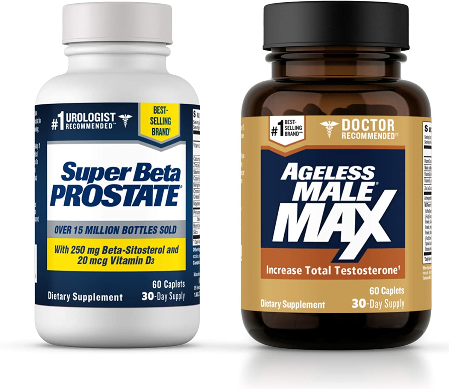 Ageless Male Max Total Testosterone Booster & Super Beta Prostate Supplement for Men - Boost Testosterone & Reduce Frequent Nighttime Bathroom Trips with Science-Based Formulas