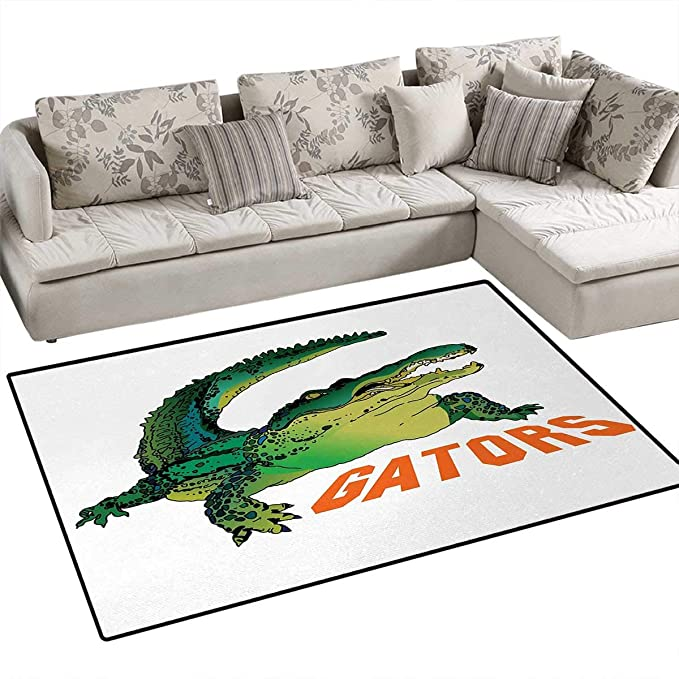 Amazon.com: Reptile, Rug, Grumpy Alligator Has a Word Gator Crocodile Humor Wild Life Safari Aquatic, Floor Mat for Kids, Green Orange White, ...