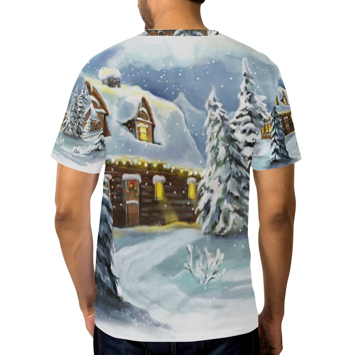 6b693cb24 Amazon.com: LORVIES Men's Christmas Fairy Tale Village Short Sleeve ...
