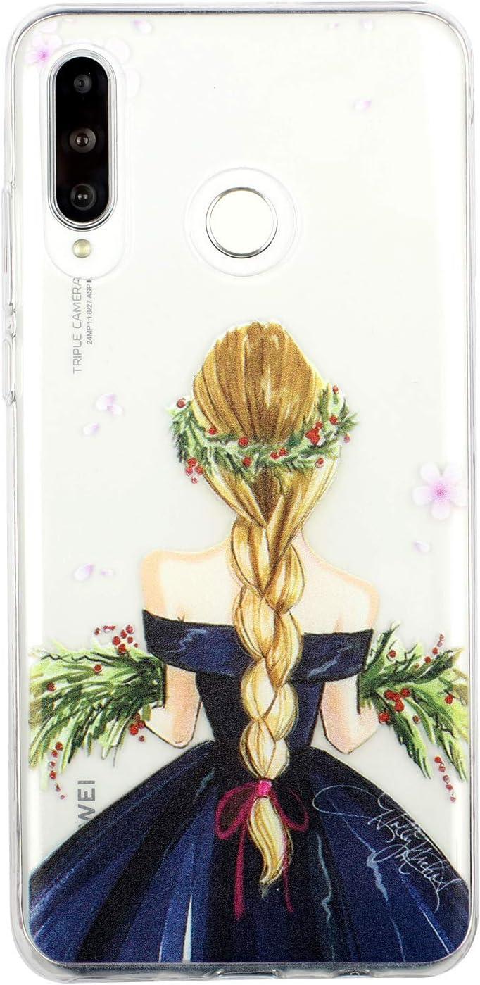 WIWJ Kompatibel mit Huawei P30 Lite H/ülle,Silikon Gemalte Blumen Bumper Cover Case Transparent Ultra D/ünn Sto/ßfest TPU Schutzh/ülle f/ür Huawei P30 Lite-Blauer Schmetterling