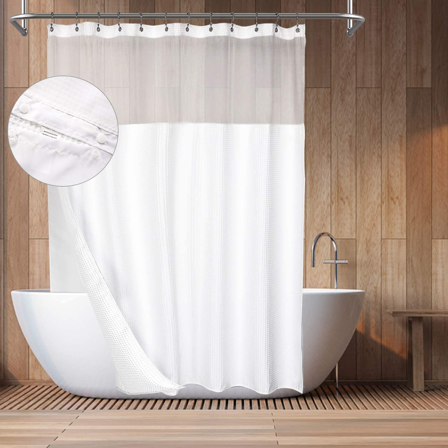 Barossa Design Hotel Style Cotton Shower Curtain with Snap-in Fabric Liner, Mesh Window Top, Honeycomb Waffle Weave Cotton Blend Fabric, Washable, White, 71x72 Inches