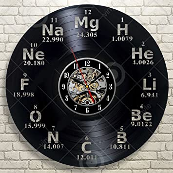Amazon chemical element periodic table vinyl wall clock study chemical element periodic table vinyl wall clock study chemistry school collehe decorative vinyl record wall clock urtaz Images