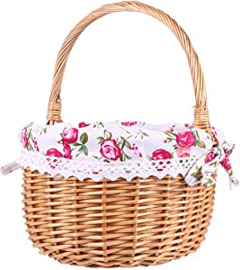 QNZ Picnic Basket,Wicker Picnic Basket,Hamper Handmade Woven Willow BBQ Food Storage Container Gift Basket Wedding Basket,Hand Woven Basket