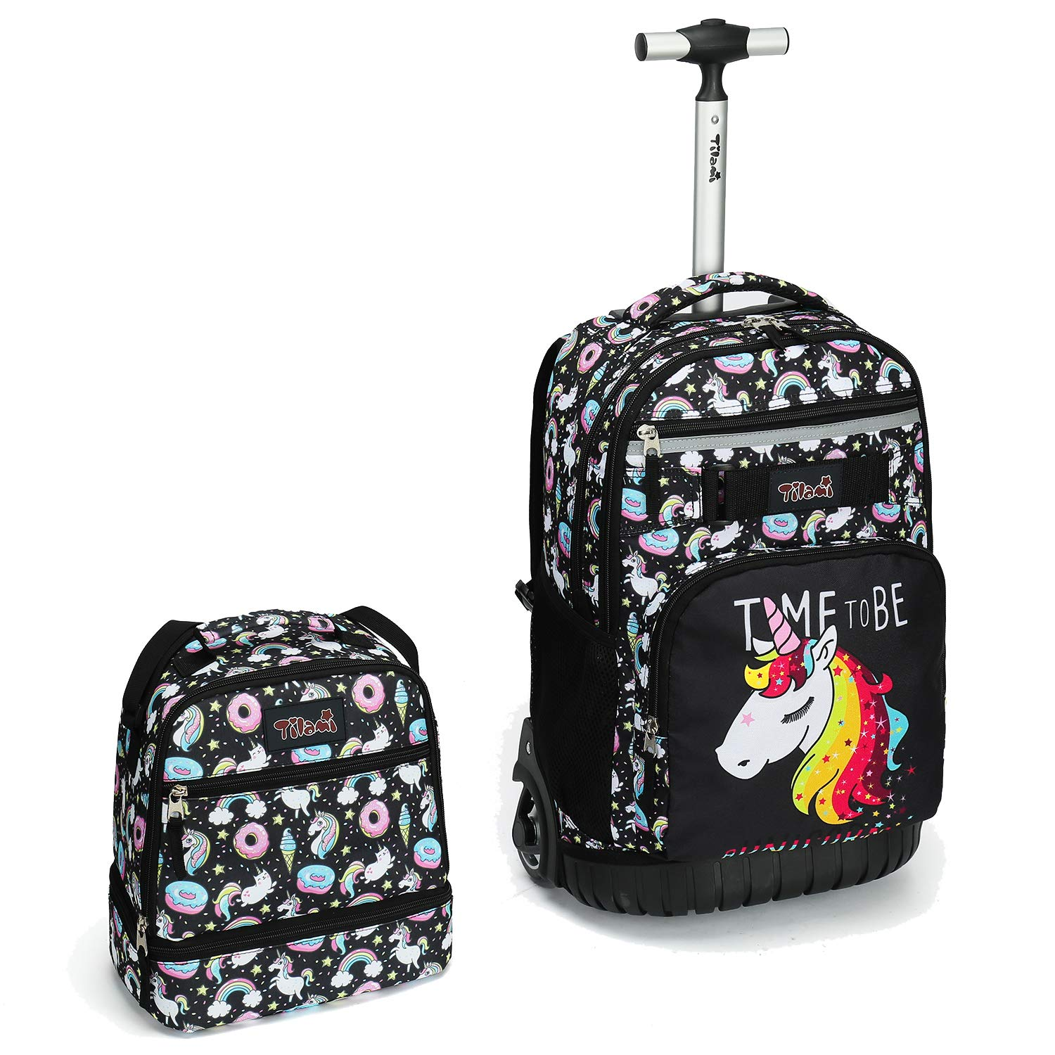 96e99b822d0d Tilami Rolling Backpack 18 inch with Lunch Bag Wheeled Laptop Backpack  Waterproof School College Student Travel Trip Boys and Girls, Unicorn Cute