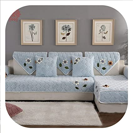 Amazon.com: New face Korean Floral Applique Wine red Sofa ...