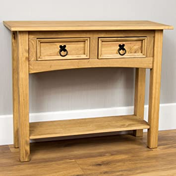 Bon Home Discount Corona Solid Pine 2 Drawer Console Table