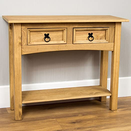 Home Discount Corona Solid Pine 2 Drawer Console Table Amazonco