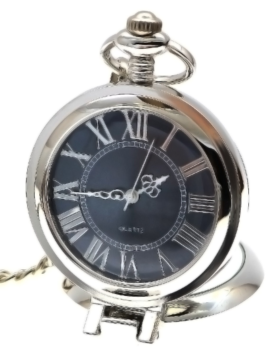 Vintage Magnifier Roman Numerals Display Design Case for Quartz Pocket Watch with Chain