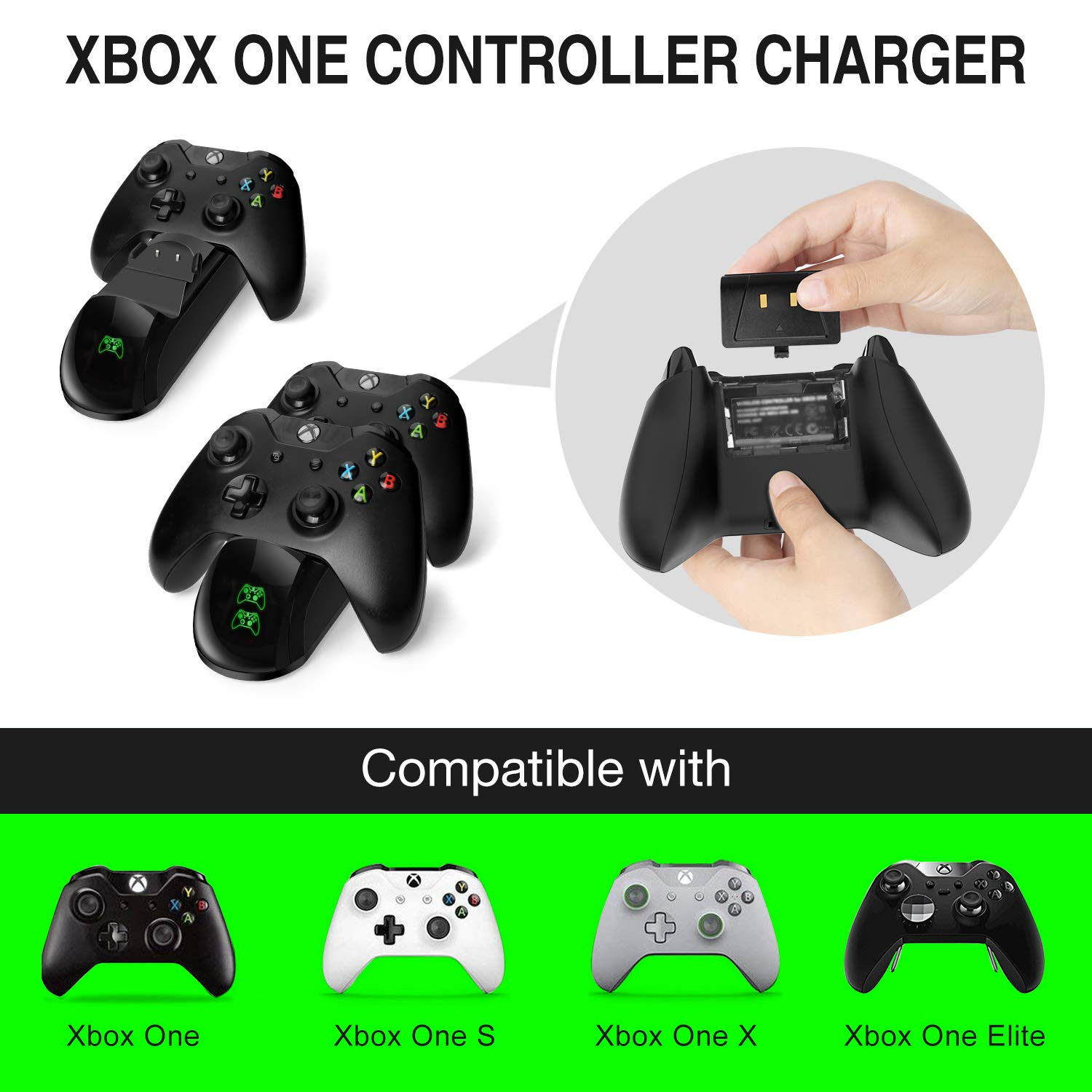 Xbox One Controller Charger 2x1200mAh Rechargeable Battery Packs for Xbox One/One S/One X Charging Station Dual Xbox Wireless Charger Dock