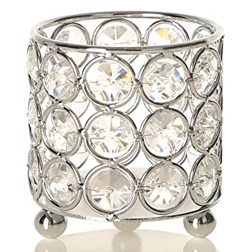 Prime Amazon Com Vincigant Silver Crystal Candle Holders Cylinder Interior Design Ideas Inesswwsoteloinfo