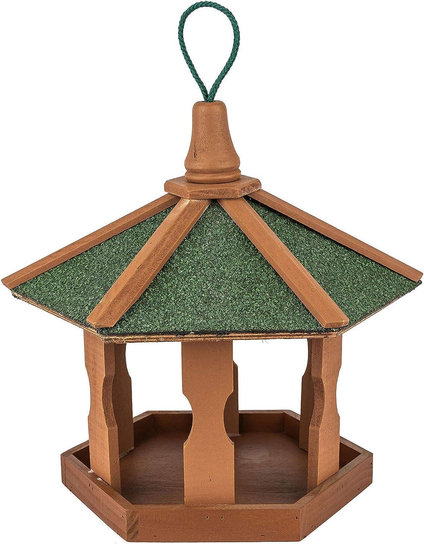 Skojig Comedero para pájaros Hecho de Madera 44 x 44 x 36 cm | Estación de alimentación para el Exterior - Alimentador de Aves Silvestres | Casa de pájaros para Colgar - Techo Impermeable