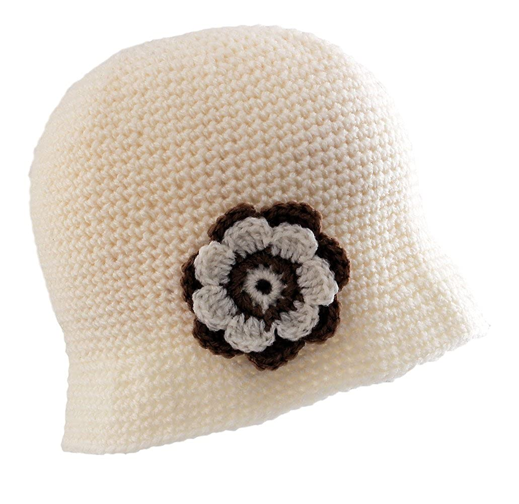 Amazon.com  POM London Crochet Flapper   Cloche Hat with Flower Corsage    Cream  Clothing 94fb0ad8a5e