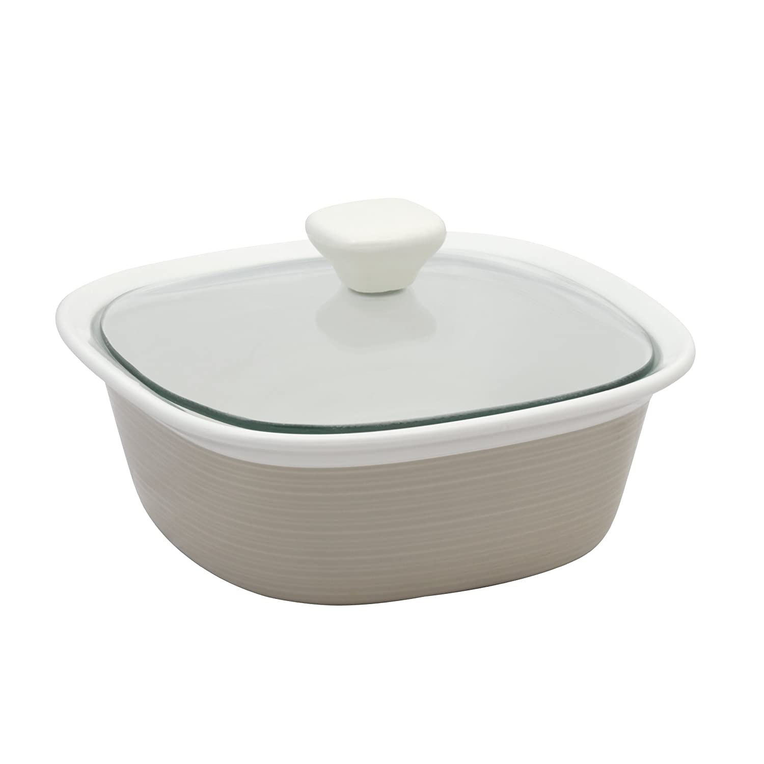 CorningWare Etch 1.5 Quart Square Dish with Glass Cover in Sand World Kitchen (PA) 1096828