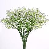 Justoyou 52cm seule tige de forme gypsophile bouquets de fleurs pour la fête de mariage Décor Couronne Cérémonie Cadeau, Tissu, blanc, Lot de 5