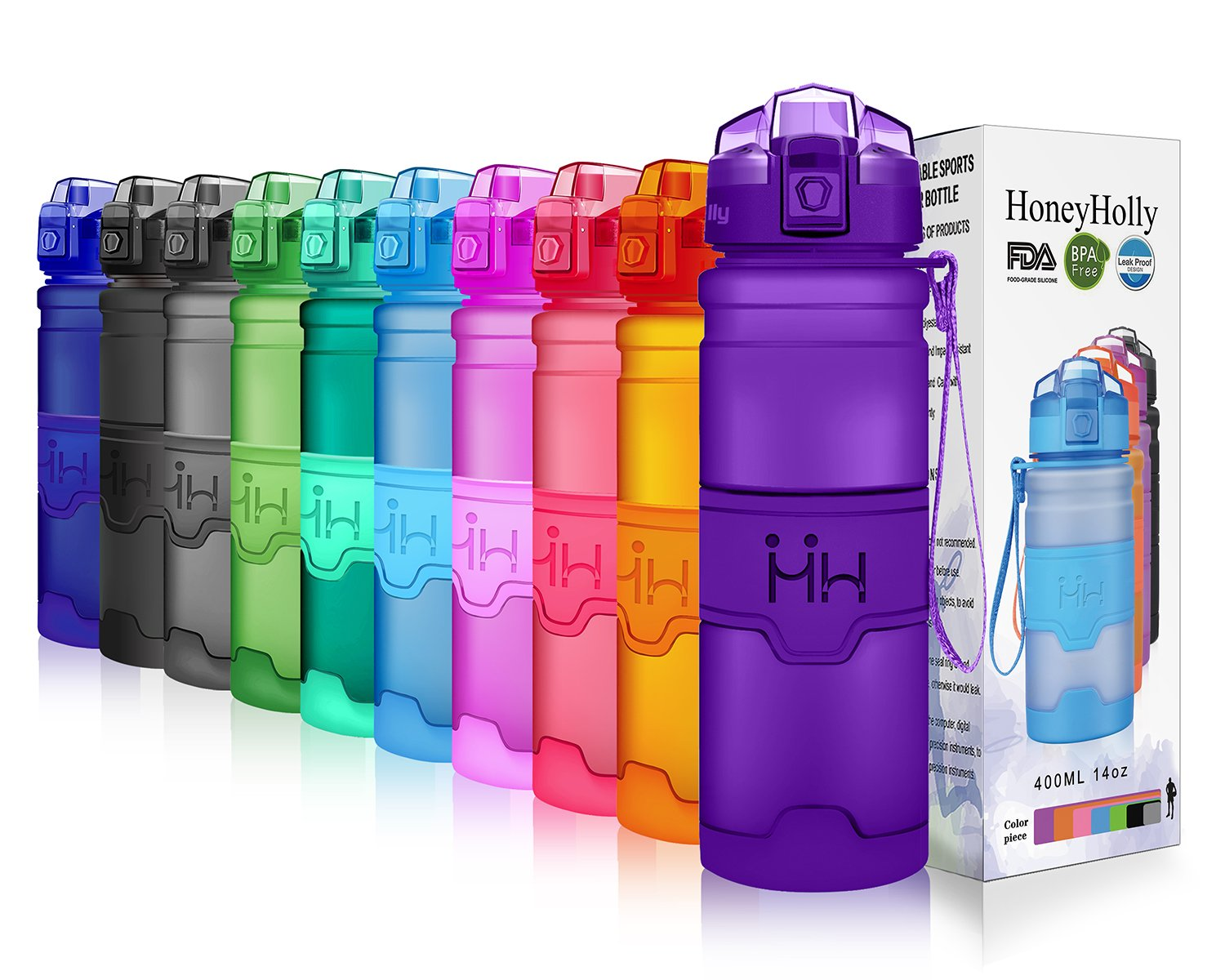 HoneyHolly Portable Sports Water Bottle-Leak Proof Kids Water Bottle Reusable Container,One Click Flip Cap,14//17//24//32Ounce,for Outdoor//Camping//Running//Gym//Kids,Non Toxic,BPA-Free Tritan Plastic