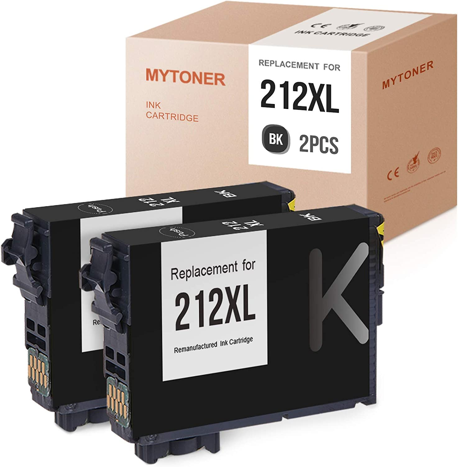 MYTONER Remanufactured Ink Cartridges Replacement for Epson 212XL T212XL 212 XL for Workforce WF-2850 WF-2830 Expression Home XP-4105 XP-4100 (Black, 2-Pack)