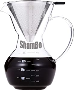 Pour Over Coffee Maker By Coffee Bear - Flavor Maximizing Permanent Filter - Premium Glass - 20 floz Manual Coffee Dripper