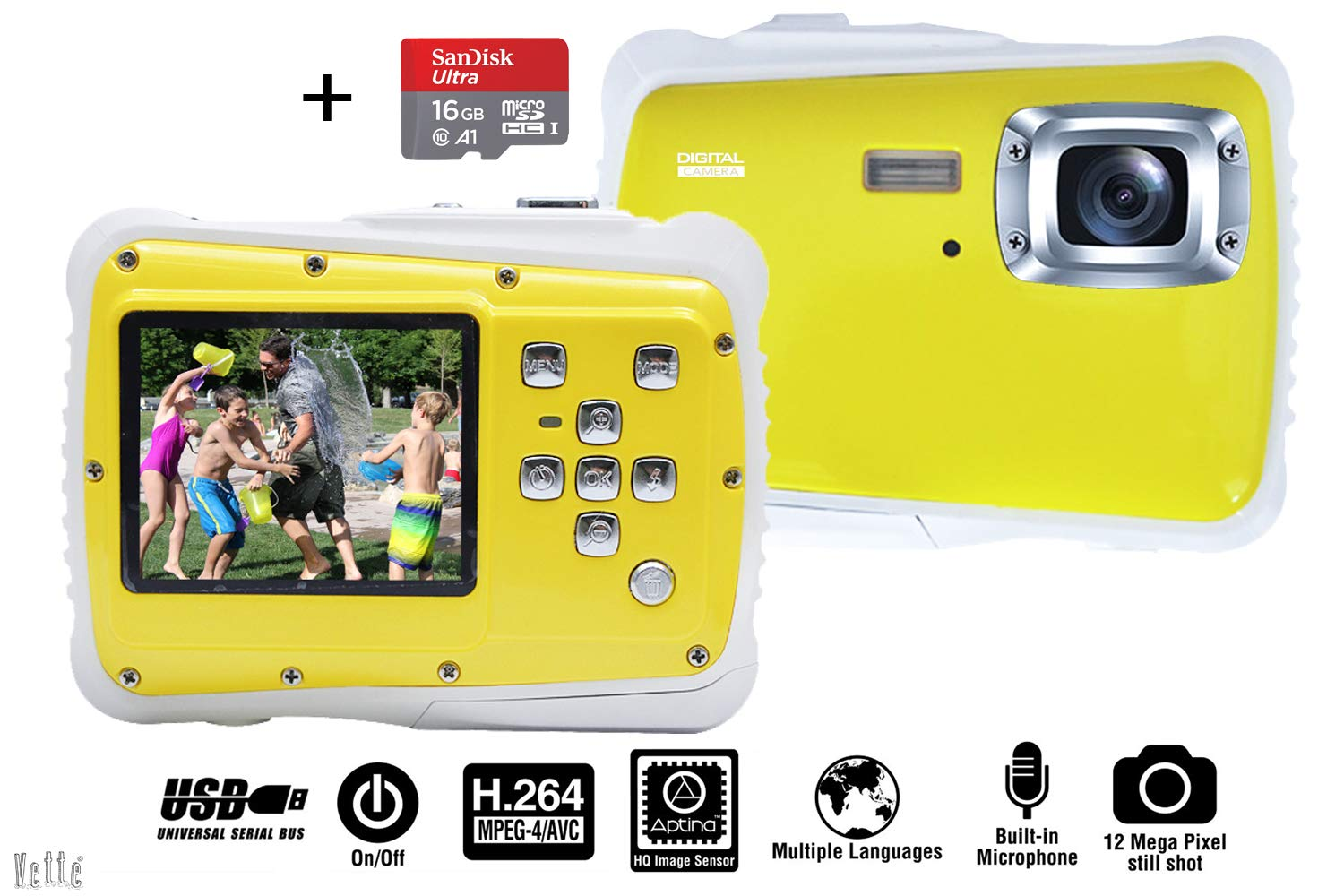 Vetté Digital Camera for Kids with 16GB MicroSD Card Included - Kids Camera Waterproof - 4X Zoom, up to 12MP, 720 HD Underwater Video Quality, TFT LCD Screen for Kids (Yellow) by Vetté (Image #1)