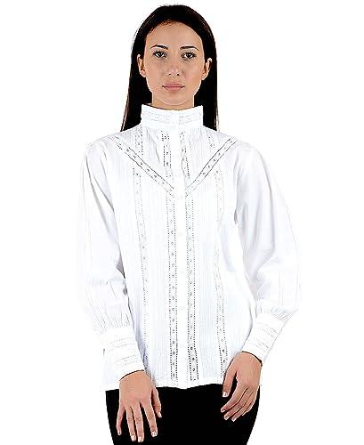 Cotton Lane Clásico blanco algodón Vintage reproducción blusa victoriana C480-WT.