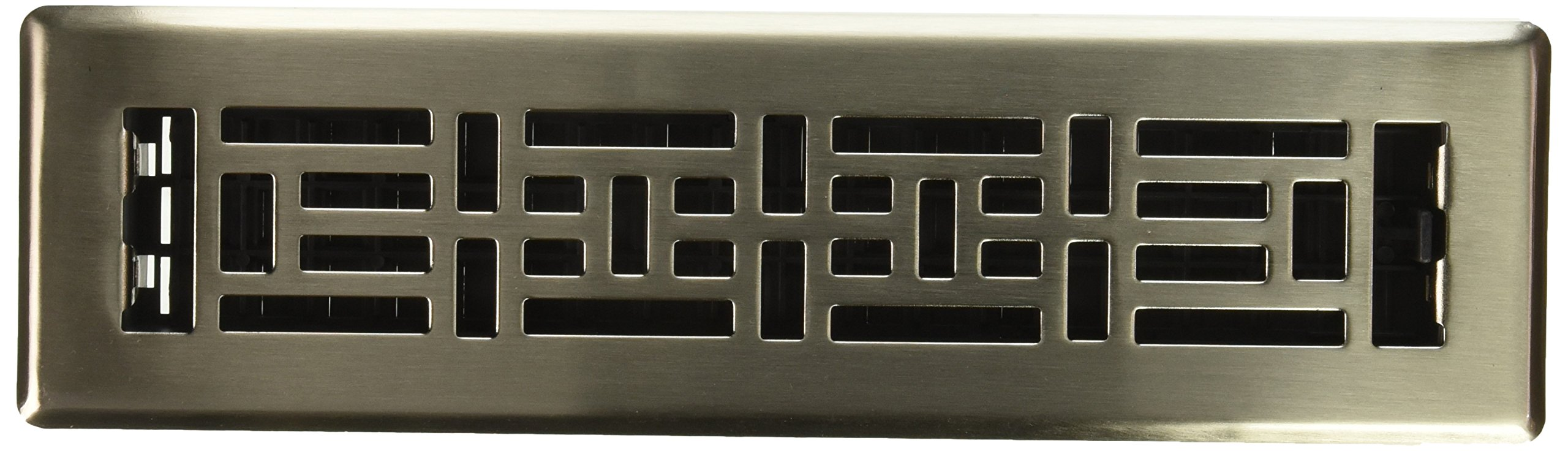 Decor Grates AJH212-NKL 2-Inch by 12-Inch Oriental Floor Register, Brushed Nickel
