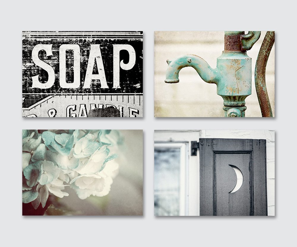 Bathroom Decor Set of 4 Unframed 5x7'' Prints - Rustic Bathroom Wall Art in Aqua Black and Teal. by Lisa Russo Fine Art Photography