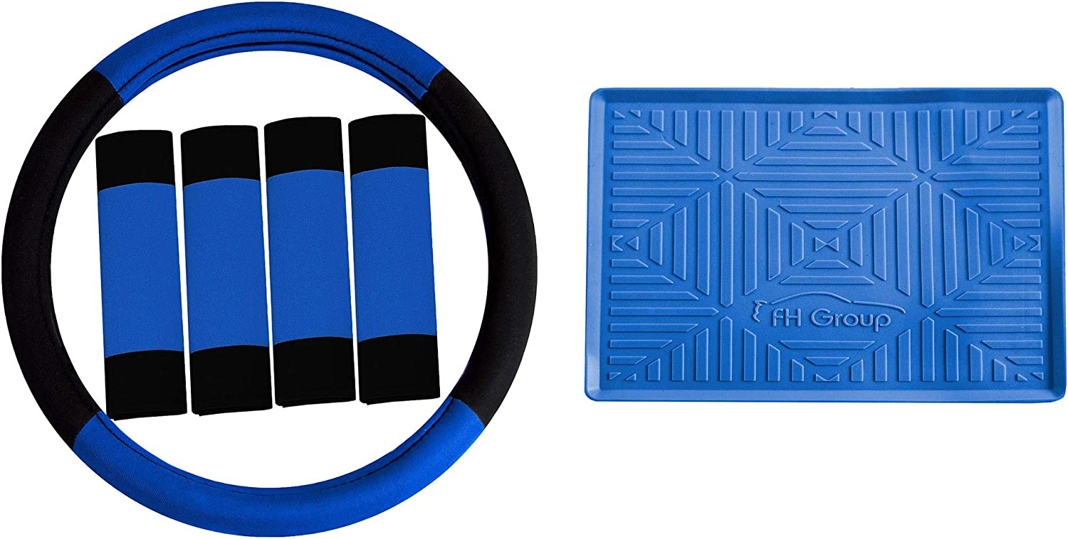 TLH Modernistic Steering Wheel Cover and Seat Belt Pads w/Anti-Slip Dash Mat, Blue Color