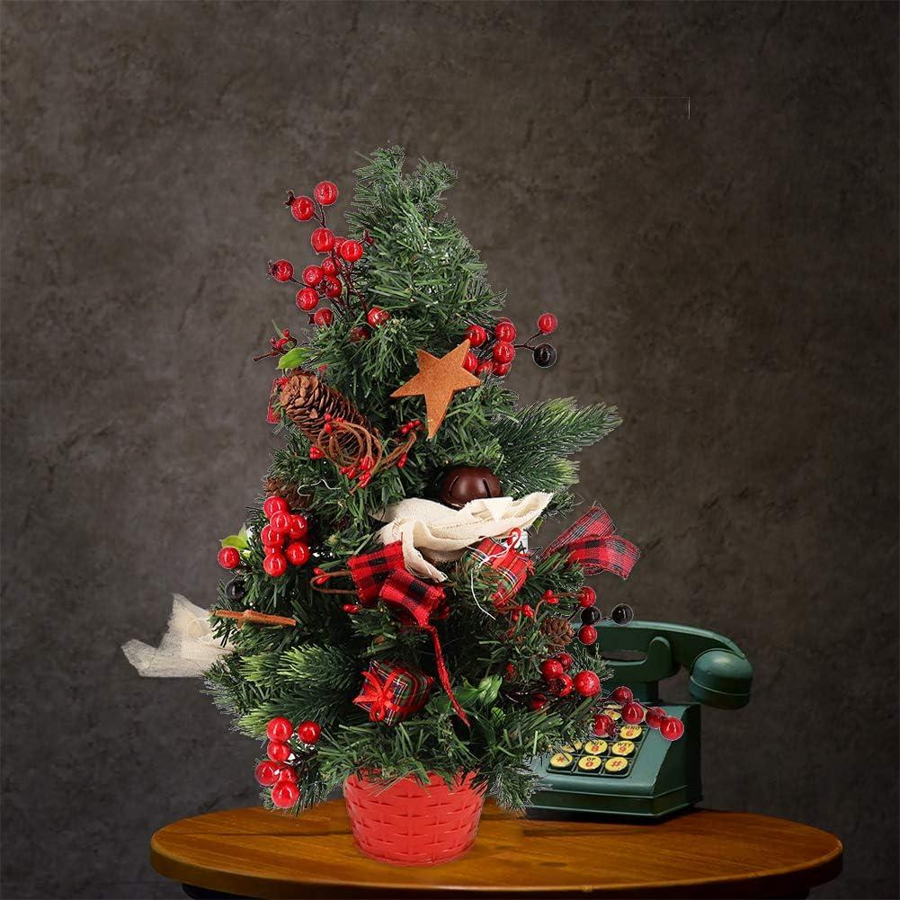 Bibivisa 51cm Sapin de Noel Artificiel de Table Houx Baies Rouges Cloches Bowknot Ornements Mini Christmas Tree pour D/écoration de F/ête de Maison Hiver Petit Arbre de No/ël avec Pommes de pin
