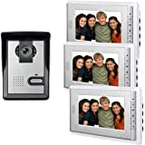"AMOCAM 7"" LCD Monitor Wired Video Intercom Doorbell Home Security Systems, 1- Camera 3- monitor Video Door Phone Bell Kits, Support Monitoring, Unlock, Dual-way Door Intercom, IR Night Vision"