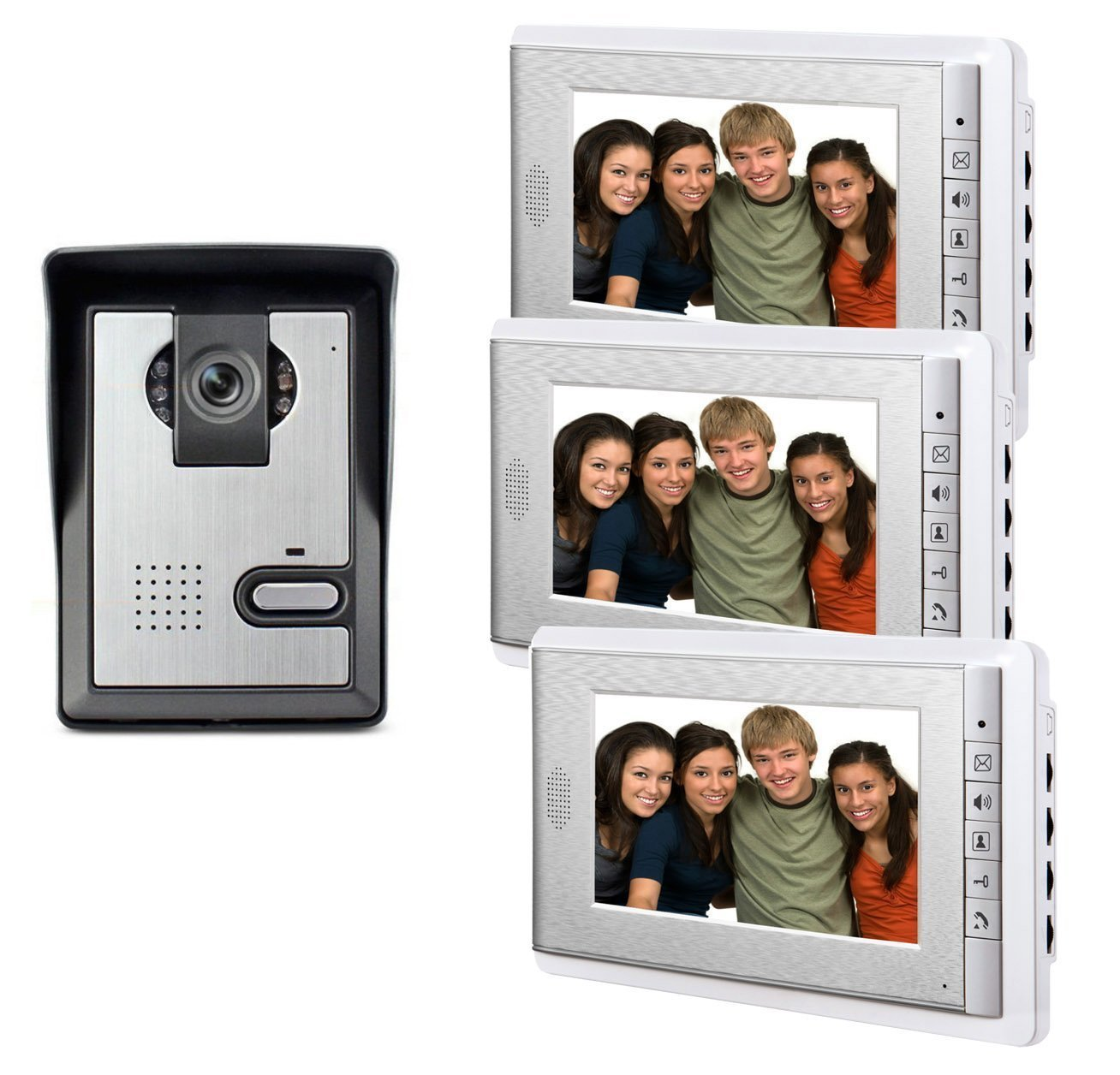 AMOCAM 7'' LCD Monitor Wired Video Intercom Doorbell Home Security Systems, 1- Camera 3- monitor Video Door Phone Bell Kits, Support Monitoring, Unlock, Dual-way Door Intercom, IR Night Vision