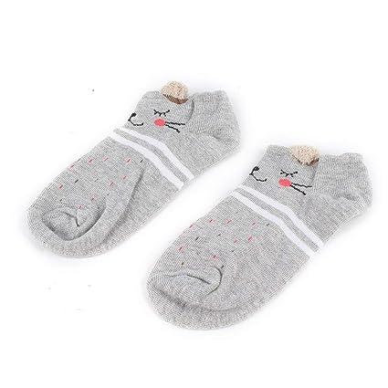 Comomingo Otoño Transpirable Kawaii Cartoon Mujeres cómodos Calcetines de algodón Antideslizante Chicas Adolescentes Zapatillas Calcetines Cortos de ...