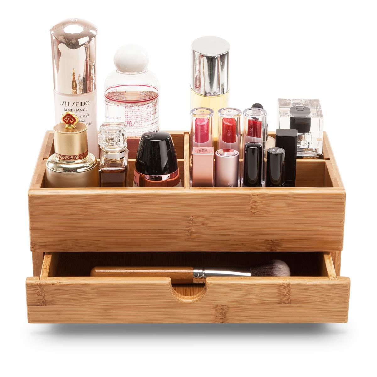 GOBAM Makeup Storage Drawer Organizer Bamboo Cosmetic Display Box Makeup Brushes Holder