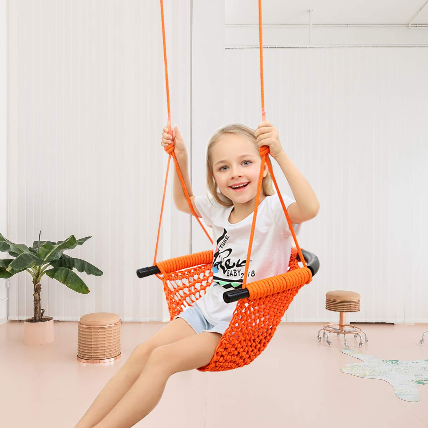 JKsmart Swing Seat for Kids Heavy Duty Rope Play Secure Children Swing Set,Perfect for Indoor,Outdoor,Playground,Home,Tree,with Snap Hooks and Swing Straps,440 lbs Capacity,Orange(Patent Pending) by JKsmart (Image #5)