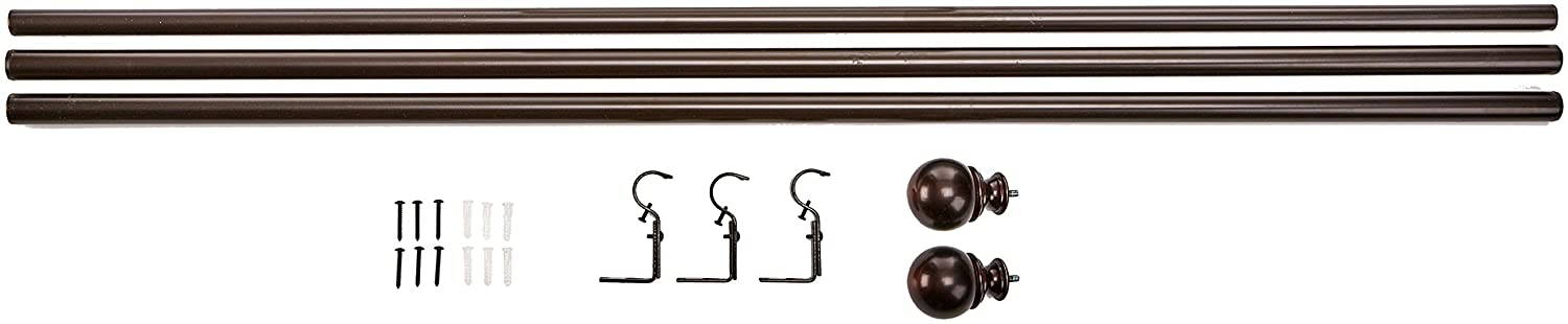 2-Pack Basics 1 Curtain Rod with Round Finials 36 to 72 Black