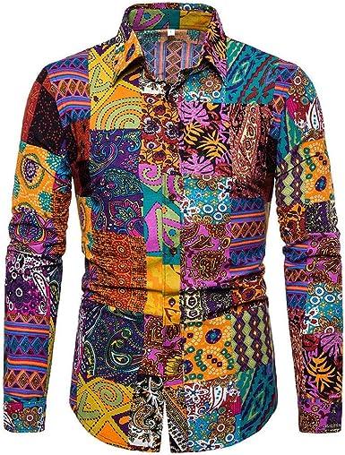 NOBRAND Camisa de manga larga de algodón y lino para hombre con estampado de flores y pájaros: Amazon.es: Ropa y accesorios